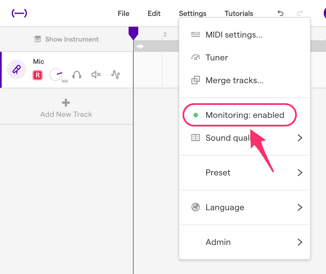 How to use monitoring – Soundtrap Support