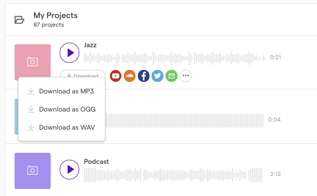 How to download your song or podcast as an mp3 – Soundtrap